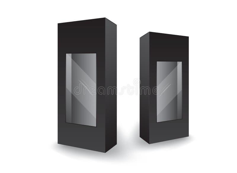 Vector negro de la caja del paquete, dise?o de paquete, 3d caja, dise?o de producto, empaquetado realista para cosm?tico o m?dico libre illustration
