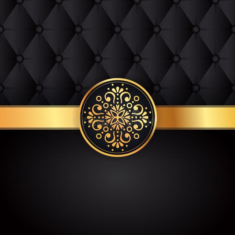 Vector negro del diseño del fondo del oro Modelo del indio de Sun Marco de la pluma del pavo real del ojo Ornamento oriental del  stock de ilustración