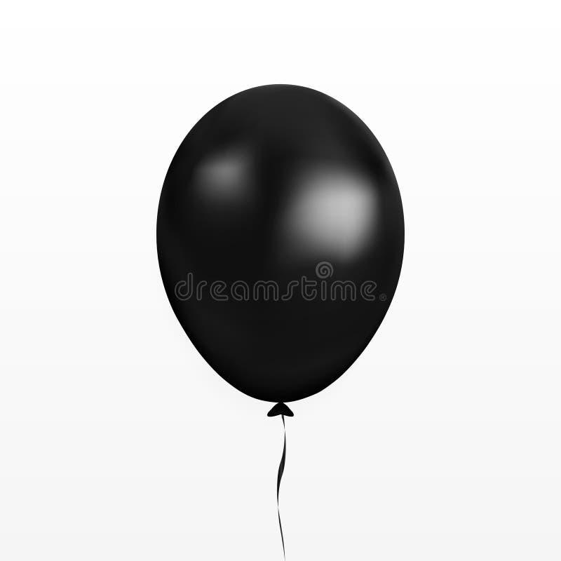 Vector negro del globo Baloon del partido con la cinta y sombra aislada en el fondo blanco Vagos que vuelan 3d stock de ilustración
