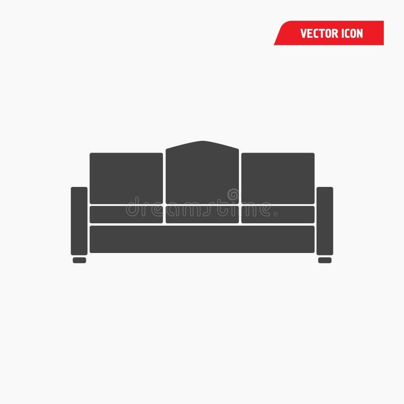 Vector negro del icono del sofá en el estilo plano de moda aislado en el fondo blanco ilustración del vector