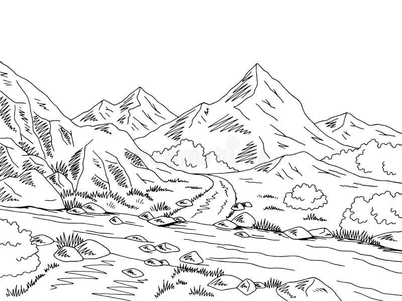 Vector negro gráfico del ejemplo del bosquejo del paisaje del vado del río Blanco del camino de la montaña stock de ilustración