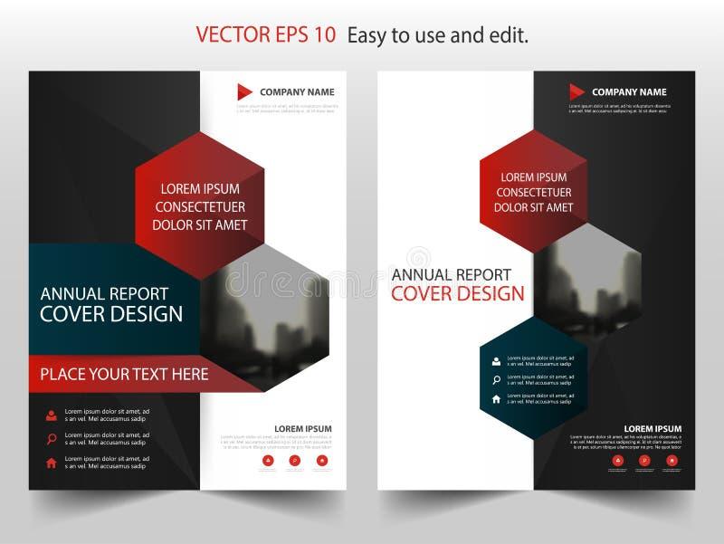Vector negro rojo de la plantilla del diseño del folleto del informe anual del extracto del hexágono Cartel infographic de la rev stock de ilustración