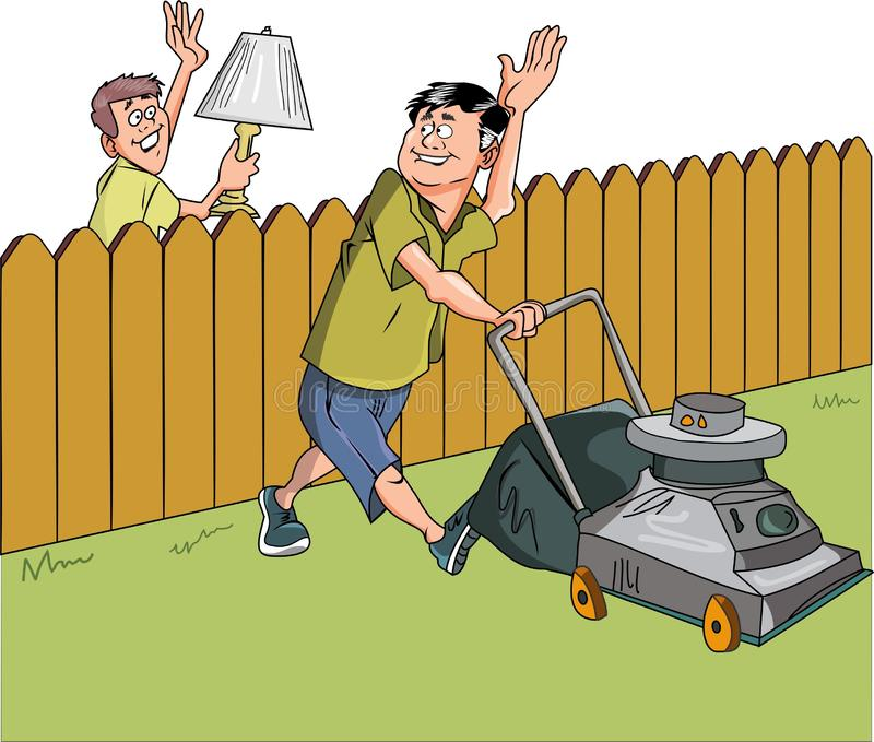 Vector - neighbors. Cartoon waving each other white background editable file royalty free illustration