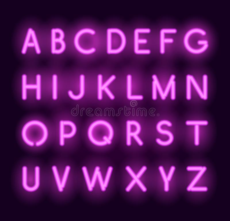 Vector neon alphabet. Realistic glowing letters stock illustration