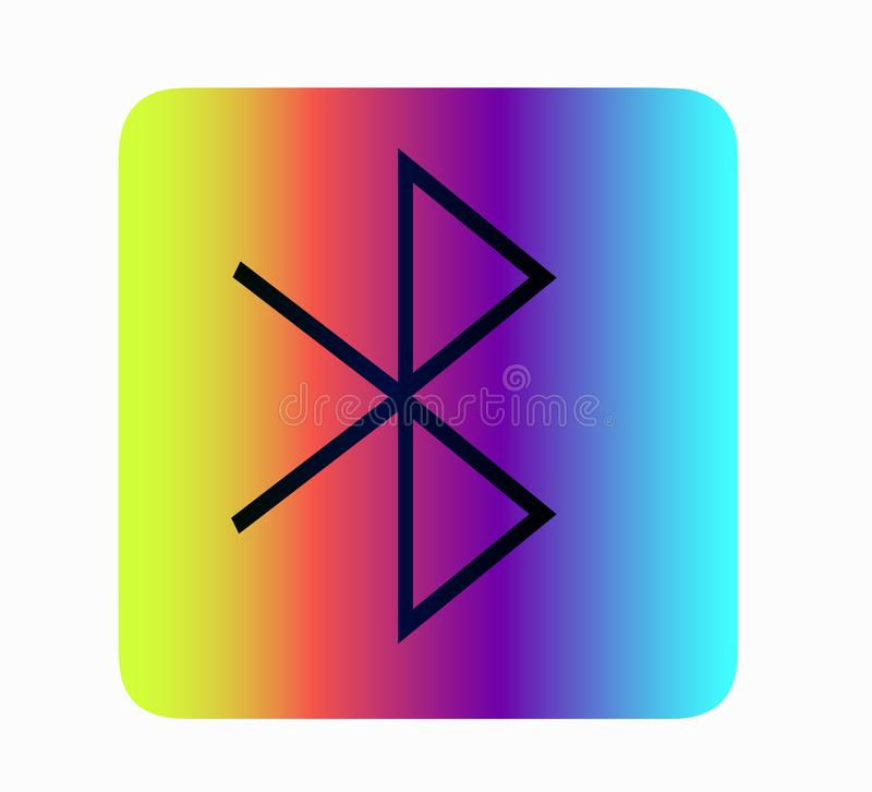 Vector neon bluetooth icon. Network and transmission symbol. royalty free illustration