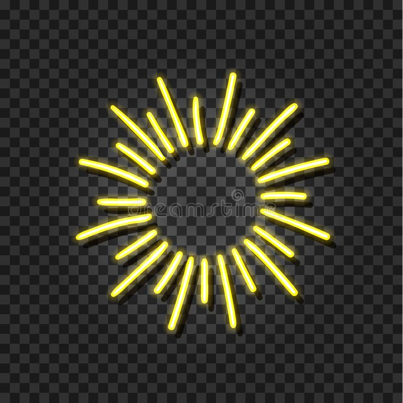 Vector Neon Sunshine, Shine Icon, Yellow Glowing Shine Template. royalty free illustration