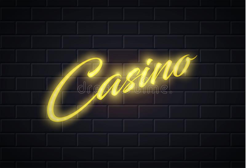 Vector neon casino poker card sign brick wall vector illustration