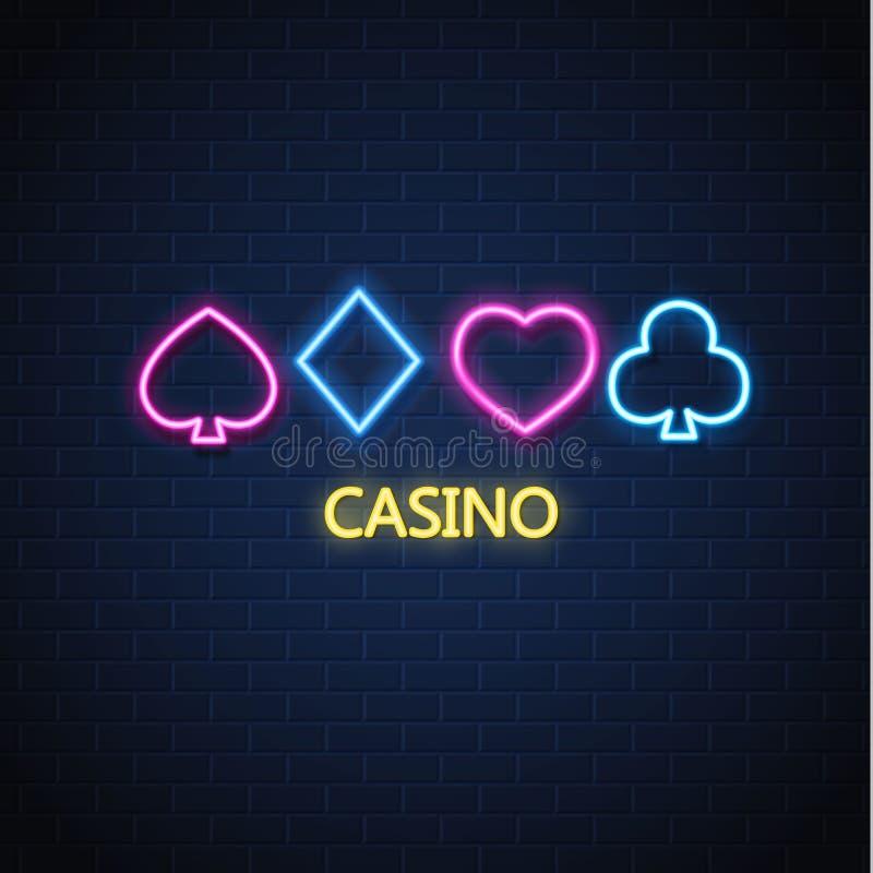 Vector neon casino poker card suit sign brick wall stock illustration