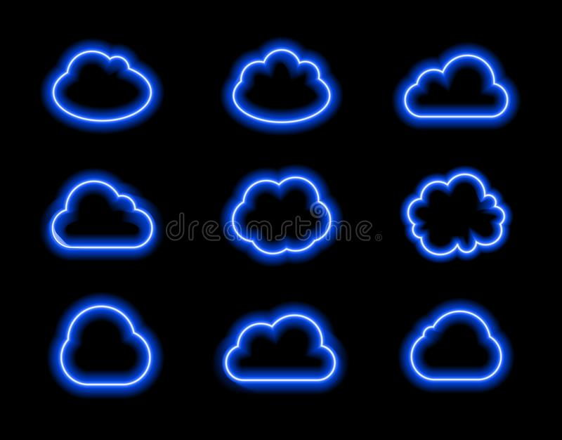 Vector Neon Clouds Set, Bright Blue Light, Icons Colelction Shining on Dark Background. royalty free illustration