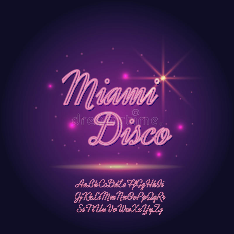Vector neon font. On blurred abstract background with sparkles stock illustration