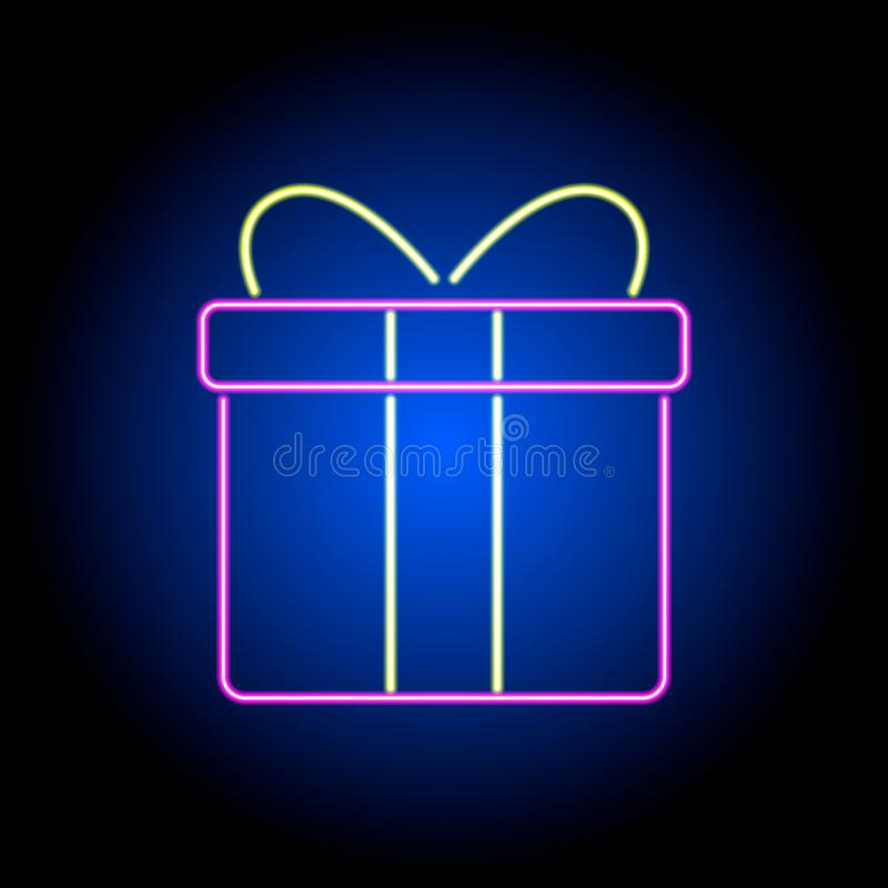 Vector neon gift box on a black background stock illustration