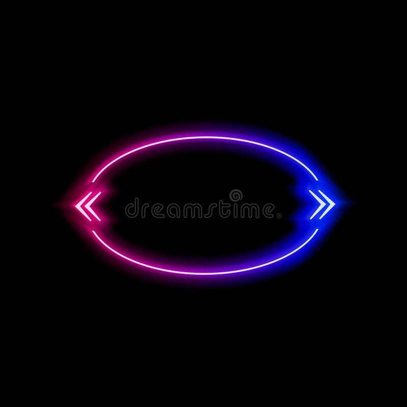 Free Vector Neon Gradient Blue And Pink Colorful Quote Frame Isolated On Black Background, Glowing Bubble Template, Ellipse Shape. Stock Images - 183282284