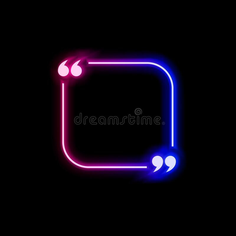 Free Vector Neon Gradient Blue And Pink Colorful Quote Frame Isolated On Black Background, Glowing Bubble Template, Square Shape. Royalty Free Stock Photography - 183282287