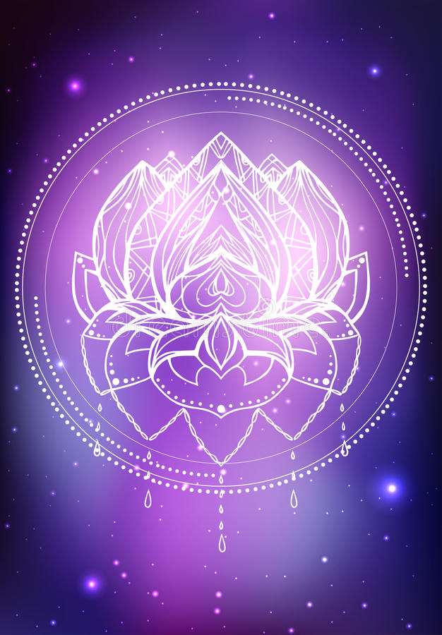 Vector neon illustration of lotus with boho pattern, background space with stars and nebula royalty free illustration