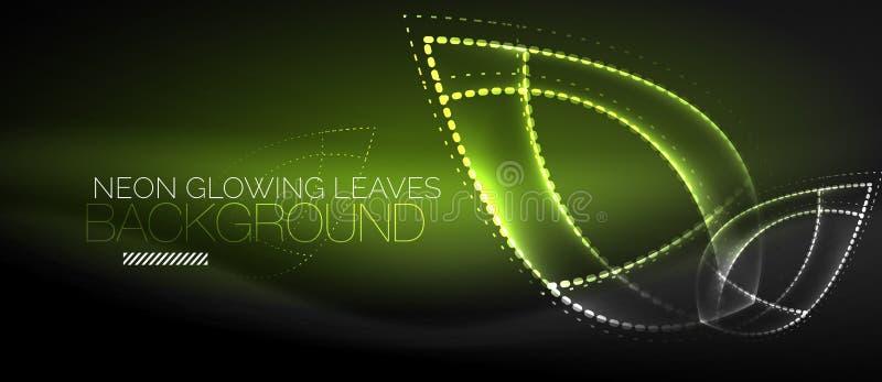 Neon leaf background, green energy concept vector illustration