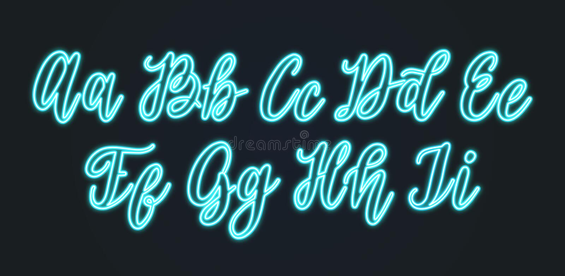 Vector neon light handwritten font. Calligraphic alphabet letters on black background royalty free illustration