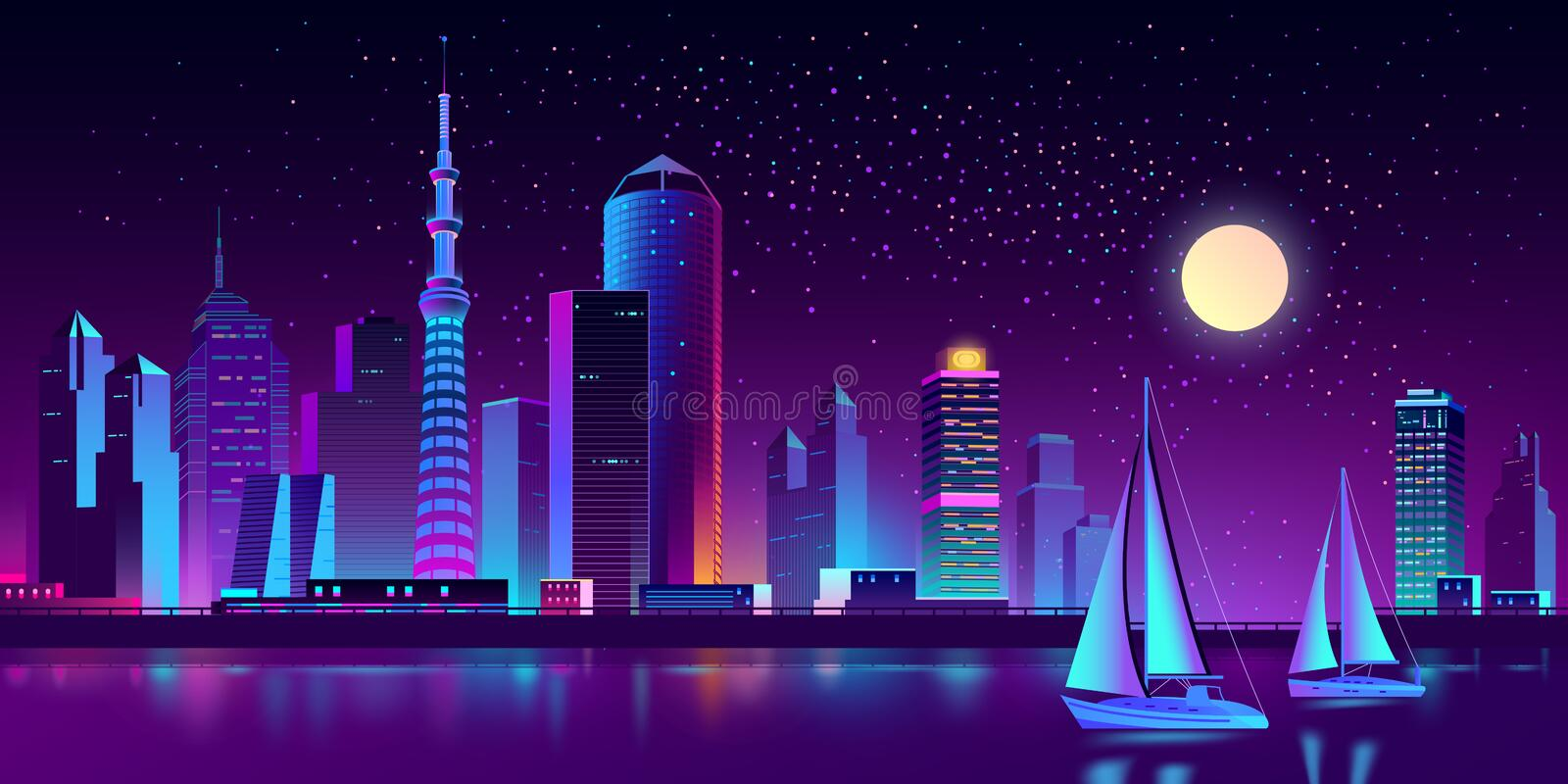 Vector neon megapolis on river with yachts stock illustration