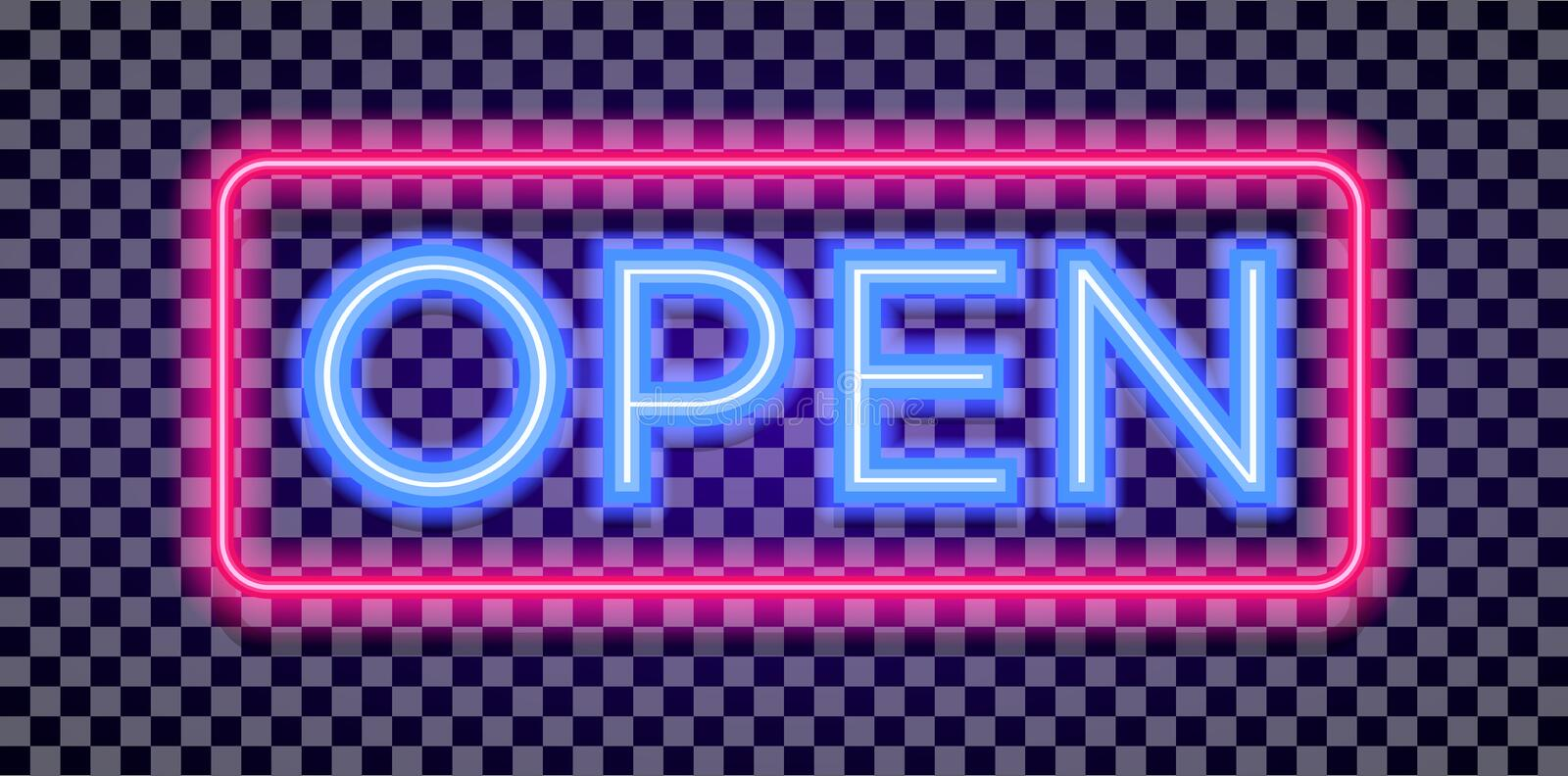 Vector neon open sign light style with colorful red frame stock illustration