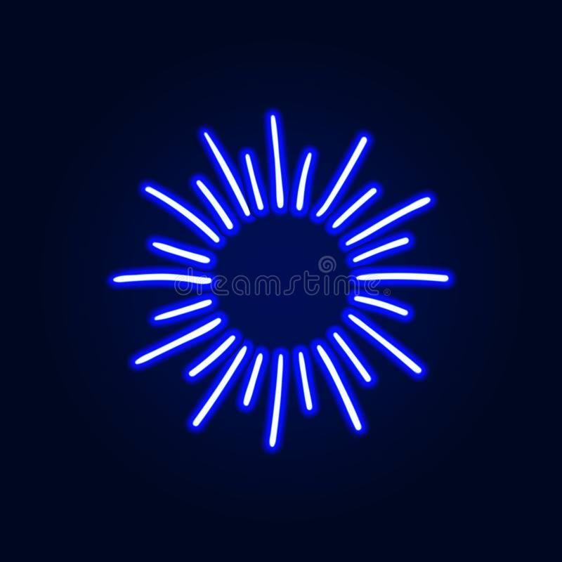 Vector Neon Retro Shine, Blank Frame Template, Cartoon Bright Illustration, Abstract Light on Dark Background. stock illustration