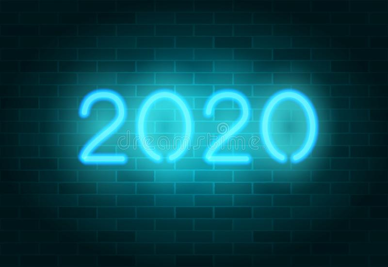 2020 vector neon sign. Blue realistic neon numbers on a brick wall. Happy New Year banner, greeting card. 2020 vector neon sign. Blue realistic neon numbers on a royalty free illustration