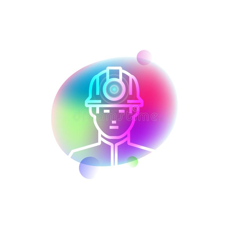 Miner in casque neon icon vector illustration