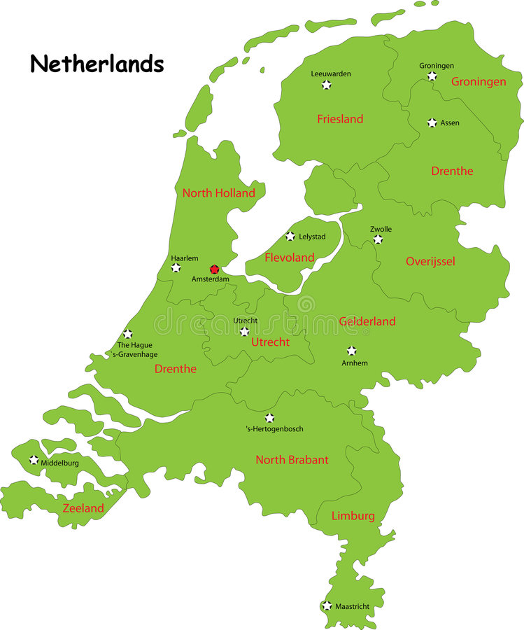 Vector Netherlands map. Netherlands map designed in illustration with the regions colored in green colors and with the main cities. Neighbouring countries are in royalty free illustration