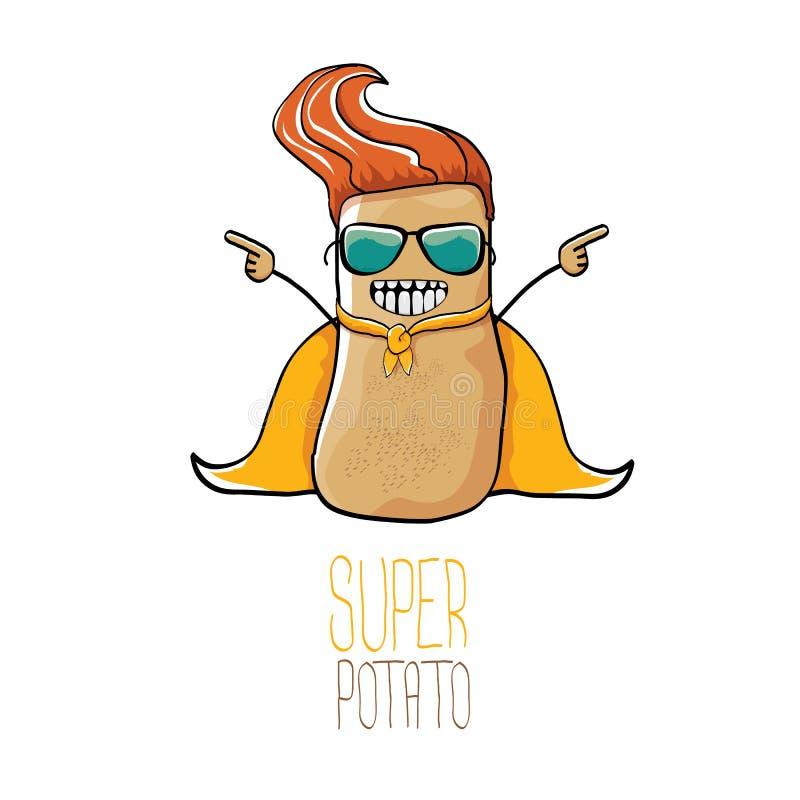 Vector nette braune Superheldkartoffel der lustigen Karikatur mit orange Heldkap und die Heldmaske, die auf weißem Hintergrund lo vektor abbildung