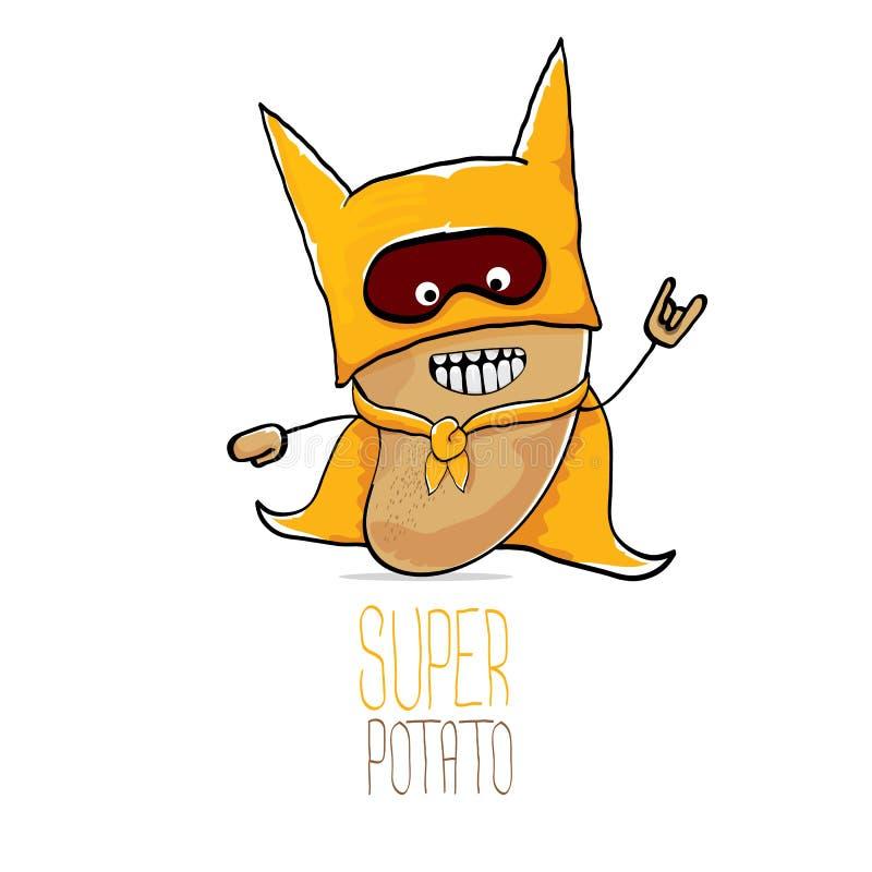 Vector nette braune Superheldkartoffel der lustigen Karikatur mit orange Heldkap und die Heldmaske, die auf weißem Hintergrund lo stock abbildung