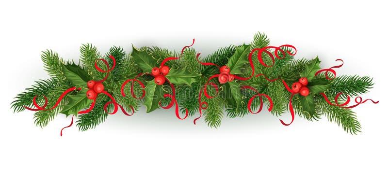 Vector nette de boomslinger van de Kerstmishulst vector illustratie