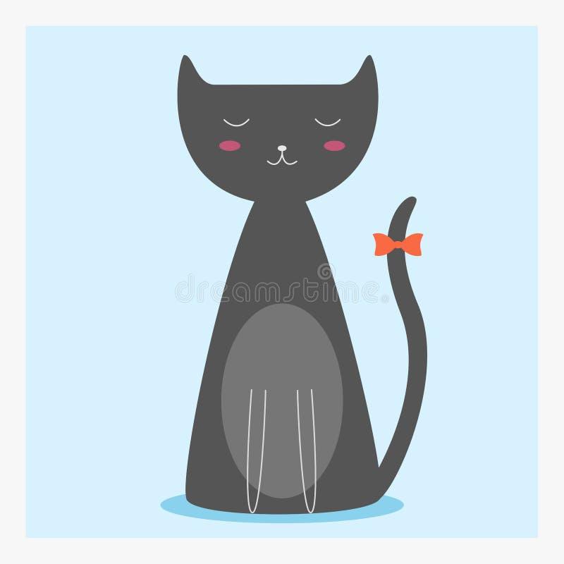 Vector nette glückliche flache Haustierkatze mit orange Bogen auf dem langen Schwanz lizenzfreies stockbild