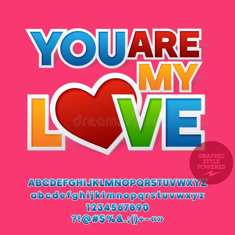 Vector nette Grußkarte für Heilig-Valentinstag mit Aufkleberart stock abbildung