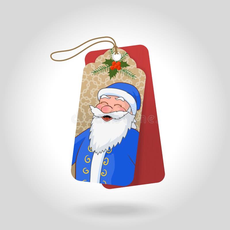 Vector nette Weihnachtsgeschenktags mit lustigem geschieltem Ded Moroz in einem blauen Mantel und in den Dekorationsschneeflocken stock abbildung