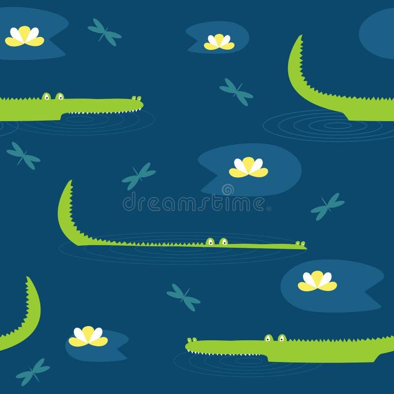 Vector nettes nahtloses Muster mit Hand gezeichneten Krokodilen vektor abbildung