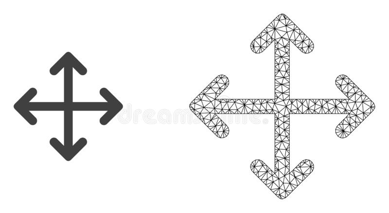Vector Network Mesh Expand Arrows and Flat Icon vector illustration