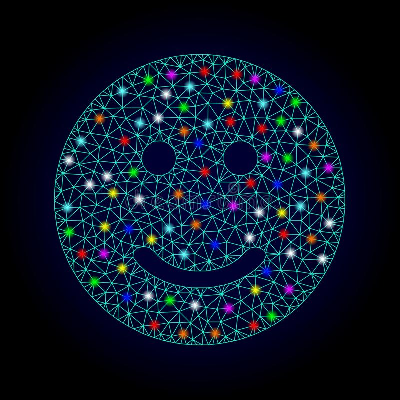 Vector Network Mesh Glad Smiley with Glare Spots for Chistmas. Glossy polygonal mesh glad smiley icon with glow effect on a dark background. Carcass glad smiley vector illustration