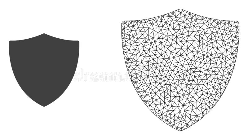 Vector Network Mesh Protection Shiled and Flat Icon. Polygonal mesh protection shiled and flat icon are isolated on a white background. Abstract black mesh lines vector illustration