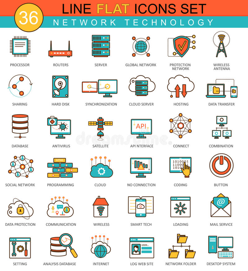 Vector Network technology flat line icon set. Modern elegant style design for web. royalty free illustration