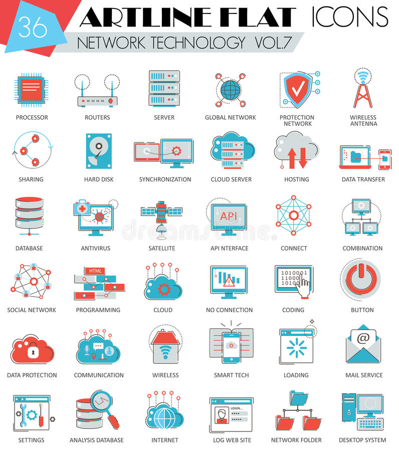 Vector Network technology ultra modern outline artline flat line icons for web and apps. stock illustration