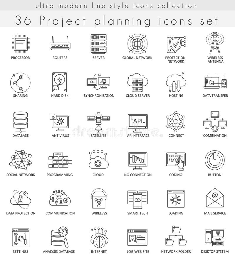 Vector Network technology ultra modern outline line icons for web and apps. royalty free illustration