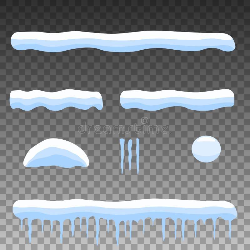 Vector neve ajustada dos desenhos animados do plano, monte de neve, sincelos ilustração stock