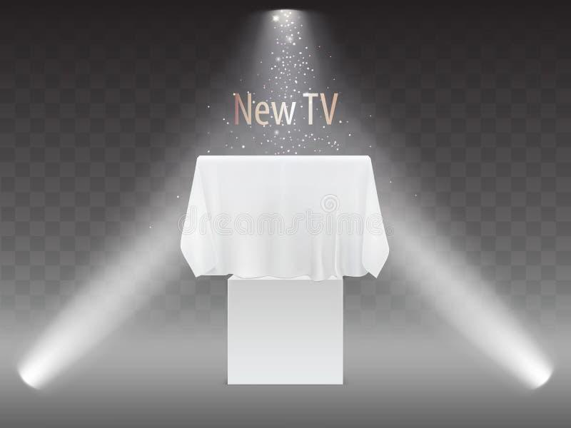 Vector new TV concept, screen under white fabric. Vector new TV concept, exhibition with screen in lights of projectors. Mock up of plasma television, modern vector illustration