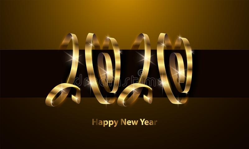 Vector 2020 New Year background. 2020 golden ribbons lettering. Happy New Year illustration for calendar, invitation and royalty free stock image