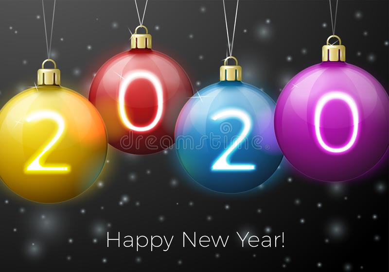 Vector New Year Banner template with bright balls royalty free stock image