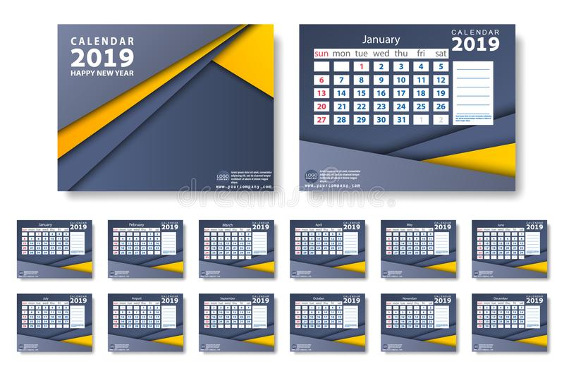 Vector of 2019 new year calendar in clean minimal table simple style and blue and orange yellow color royalty free illustration