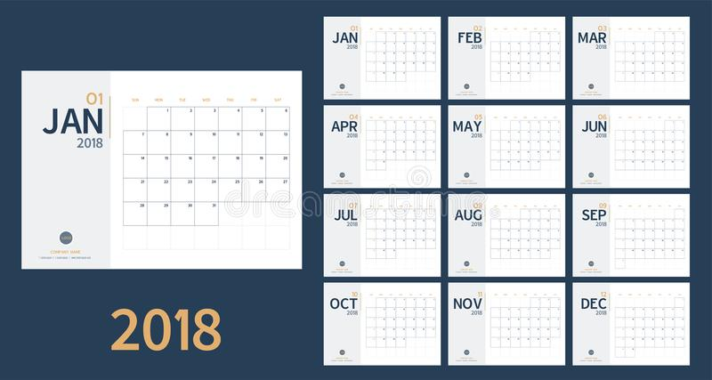 Vector of 2018 new year calendar in clean minimal table simple style and blue and yellow color,Holiday event planner,Week Starts S stock illustration