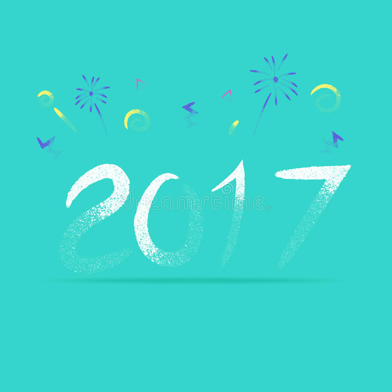 Vector, 2017 New year with firework in rough pencil brush style, Holiday Design,Happy New Year stock illustration