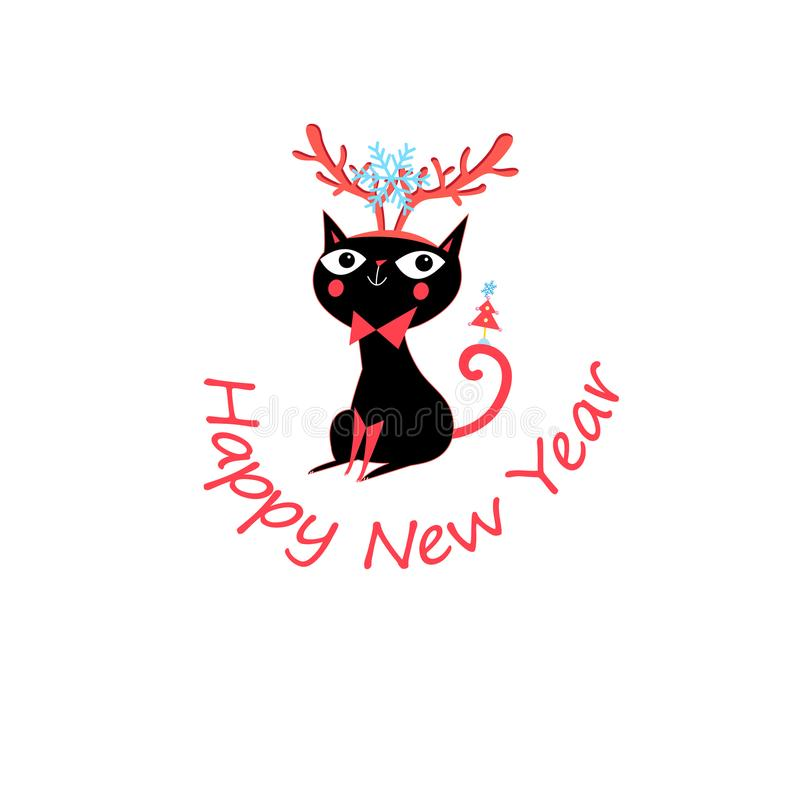 Vector New Year greeting card with funny cat stock illustration