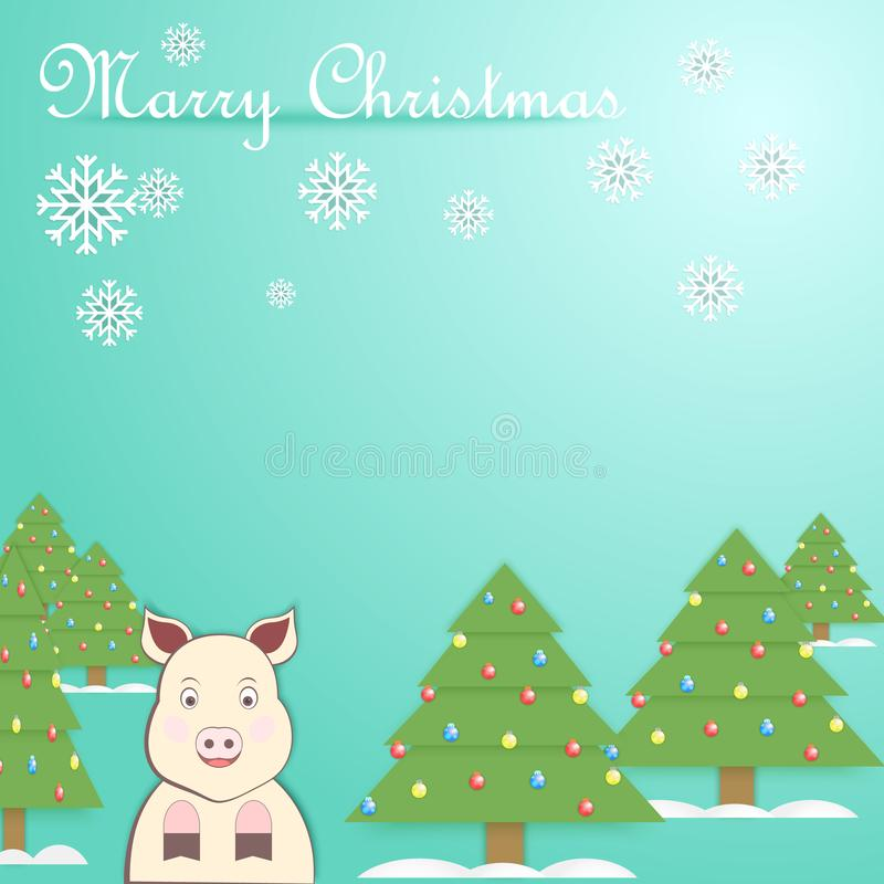Vector new year illustration with pig symbol 2019 stock photography