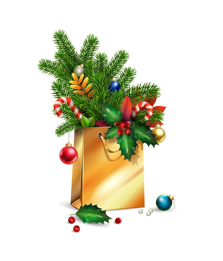 Vector New Year, Merry Christmas illustration. 3d gold Shopping bag, decorations of spruce, fir branches, Christmas toys, colorful. Balls, leaves, holly berries stock image