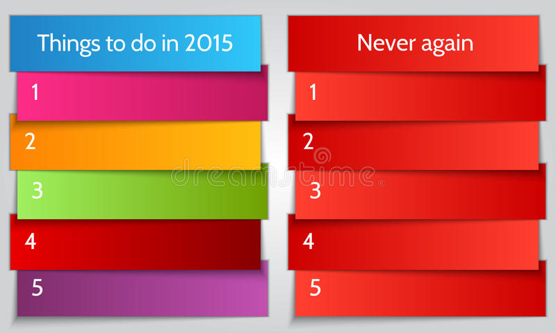 Vector New Year Resolution double List template. Vector New Year Resolution multi color double List template vector illustration